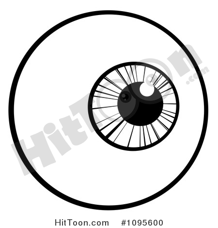 Eyeball Clipart #1095600: Black and White Eyeball Looking Right by.