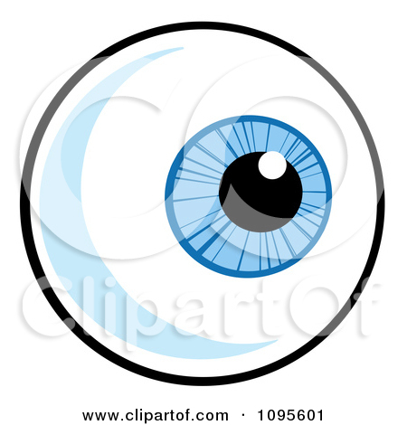 Clipart Blue Eyeball Looking Right.