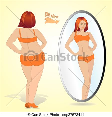 Vector Clip Art of Fat woman looking in mirror and seeing herself.