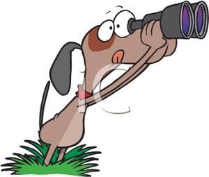 Image: A Cartoon Dog Looking Through Binoculars.