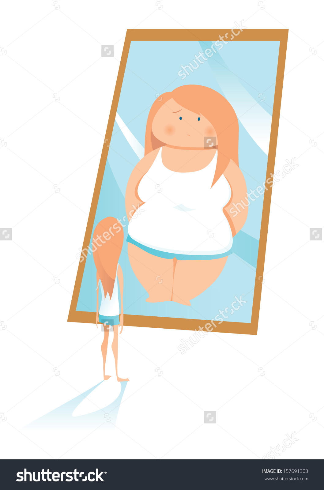 Slim Young Woman Looking Mirror Seeing Stock Vector 157691303.