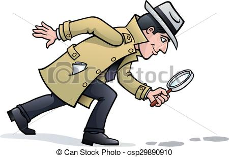 Vector Clip Art of Sleuth Looking for Clues.