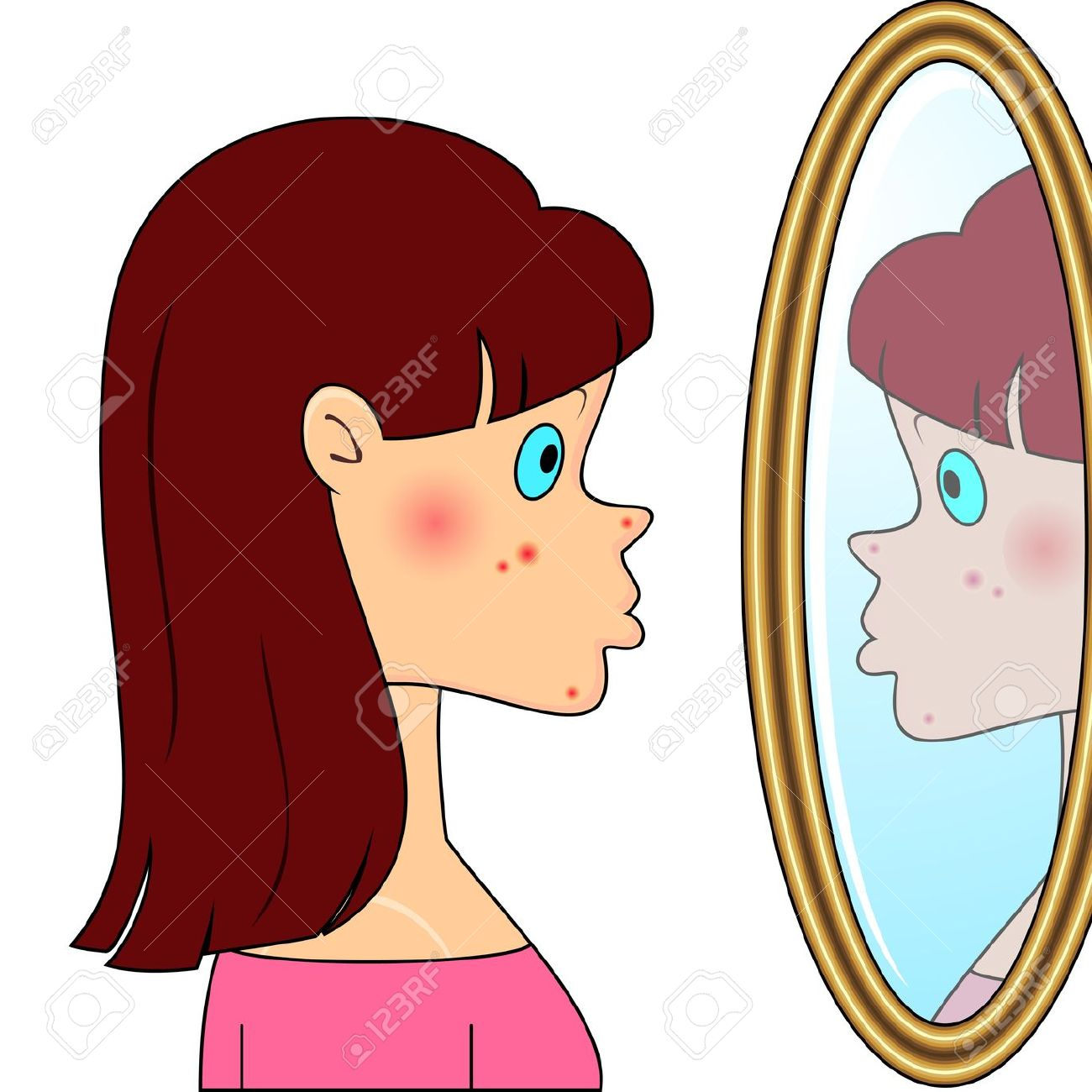 Girl looking in mirror clipart sad.