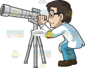 A Male Astronomer Looking Through A Telescope.