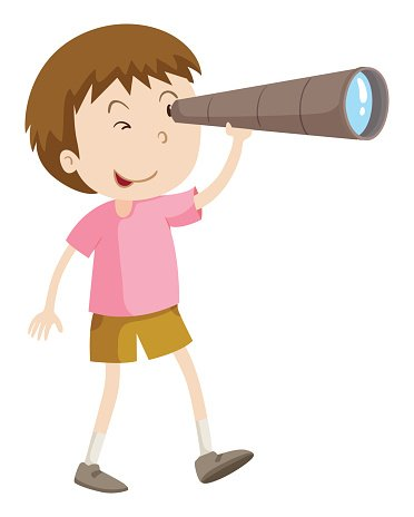 Boy looking through telescope Clipart Image.