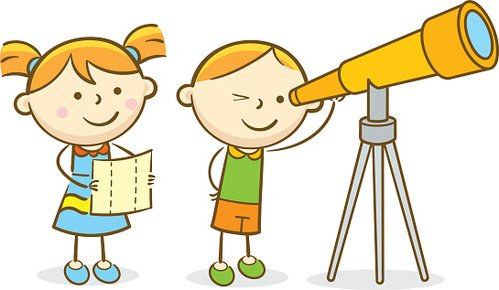 Kids Looking Through Telescope Clipart Image.