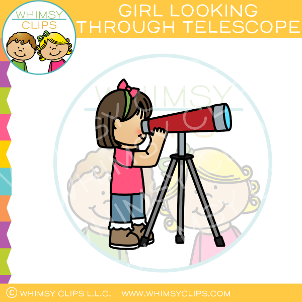 Girl Looking Through Telescope Clip Art.