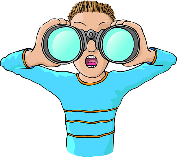 looking through binoculars clipart #5