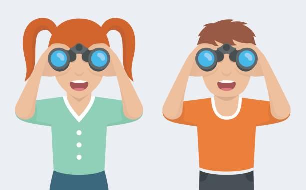 looking through binoculars clipart #7
