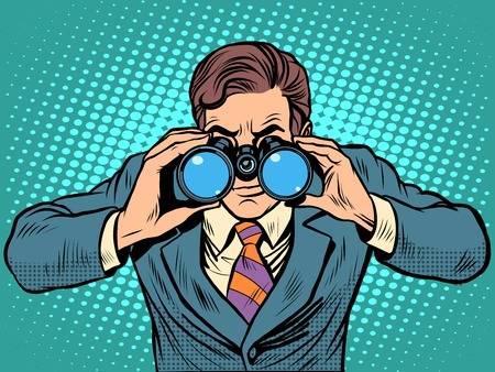 looking through binoculars clipart #3