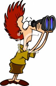 Clipart of a Shocked Secretary Looking Through Binoculars.