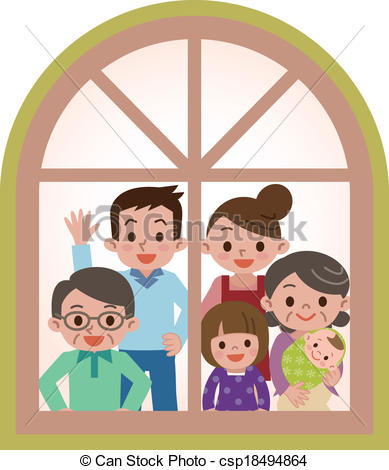 Clip Art Vector of Happy family looking through the window.