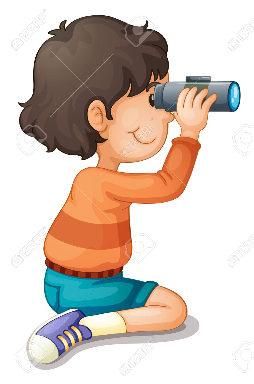 Looking through binoculars clipart.