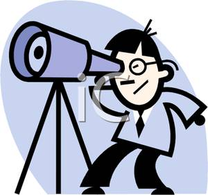 Man Looking Through a Telescope Clipart Picture.