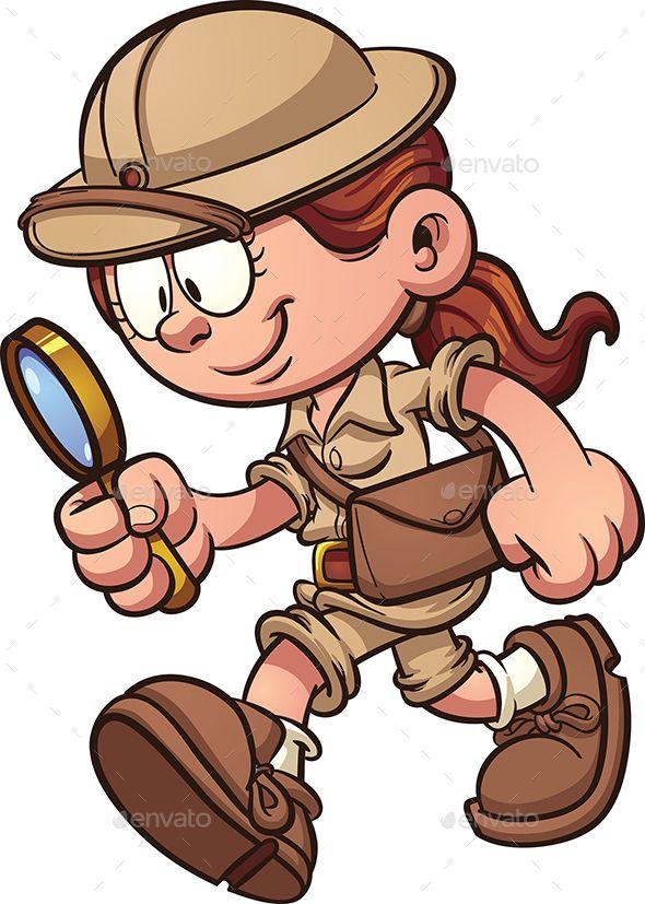 Cartoon safari girl looking through a magnifying glass.