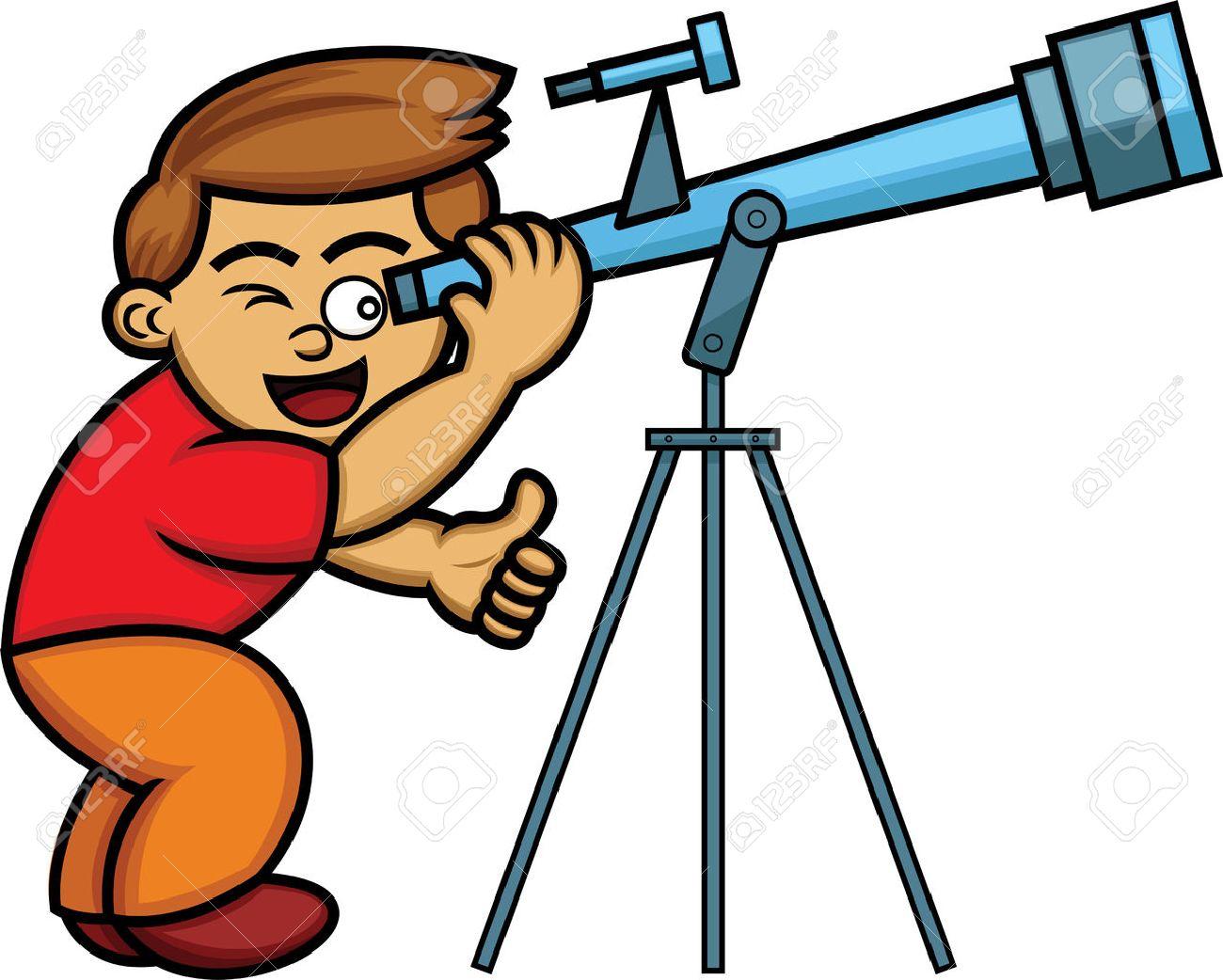 Cartoon illustration of a boy looking through telescope.
