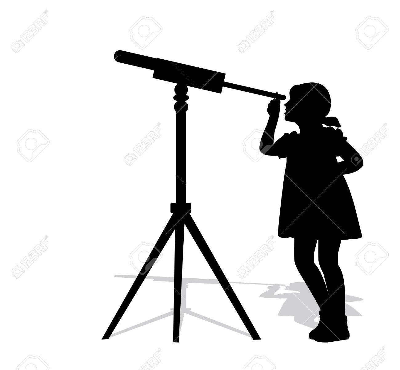 silhouette of girl looking through a telescope.