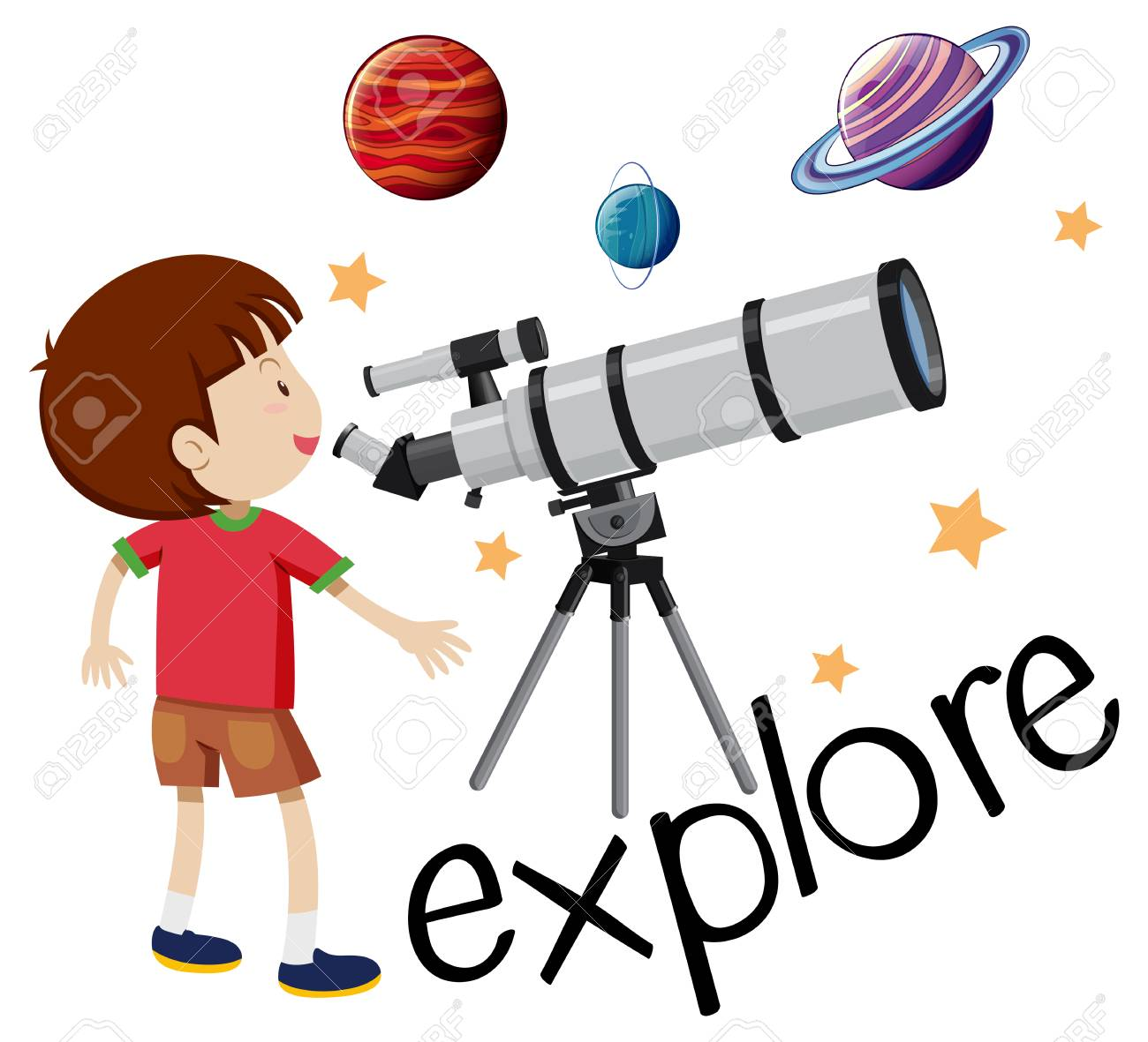 Flashcard for explore with kid looking through telescope illustration.