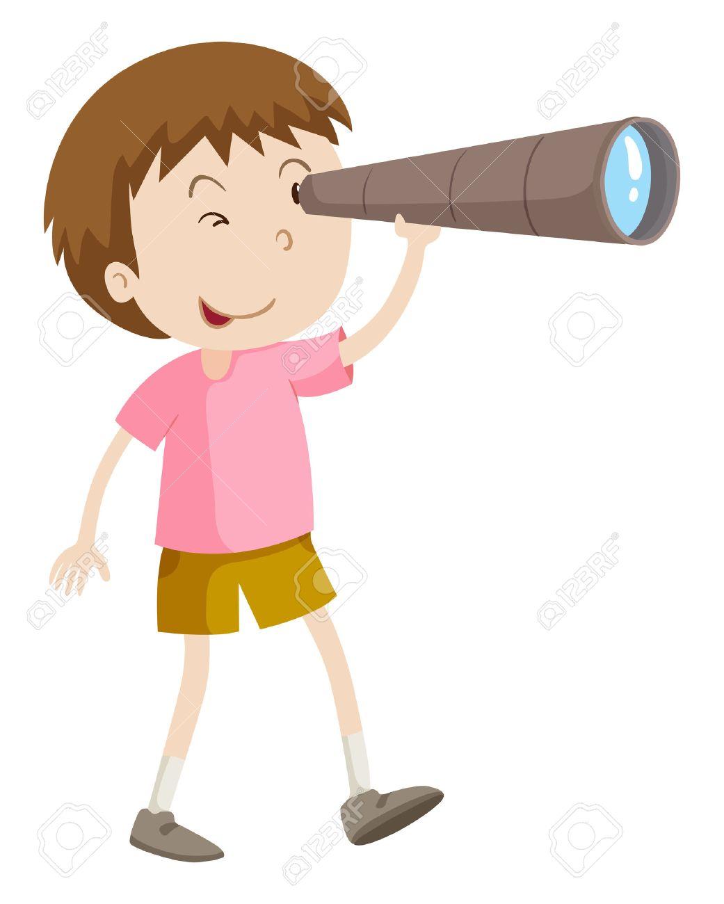 Boy looking through telescope illustration.