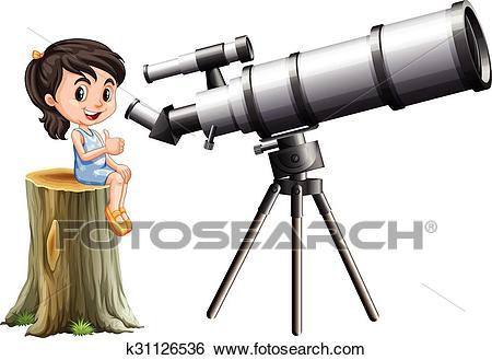 Little girl looking through telescope Clip Art.
