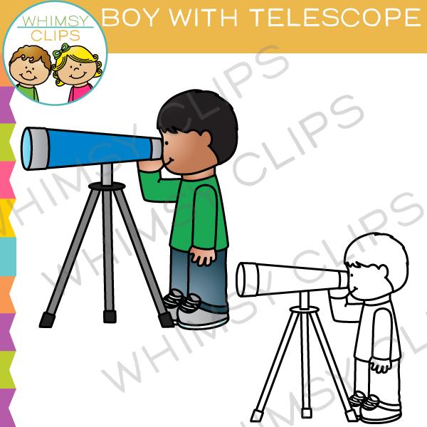 Boy Looking Through a Telescope Clip Art.