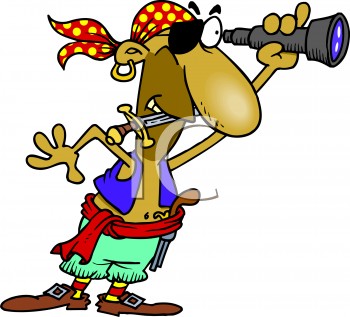 Royalty Free Clipart Image: Pirate Looking Through a Spyglass.