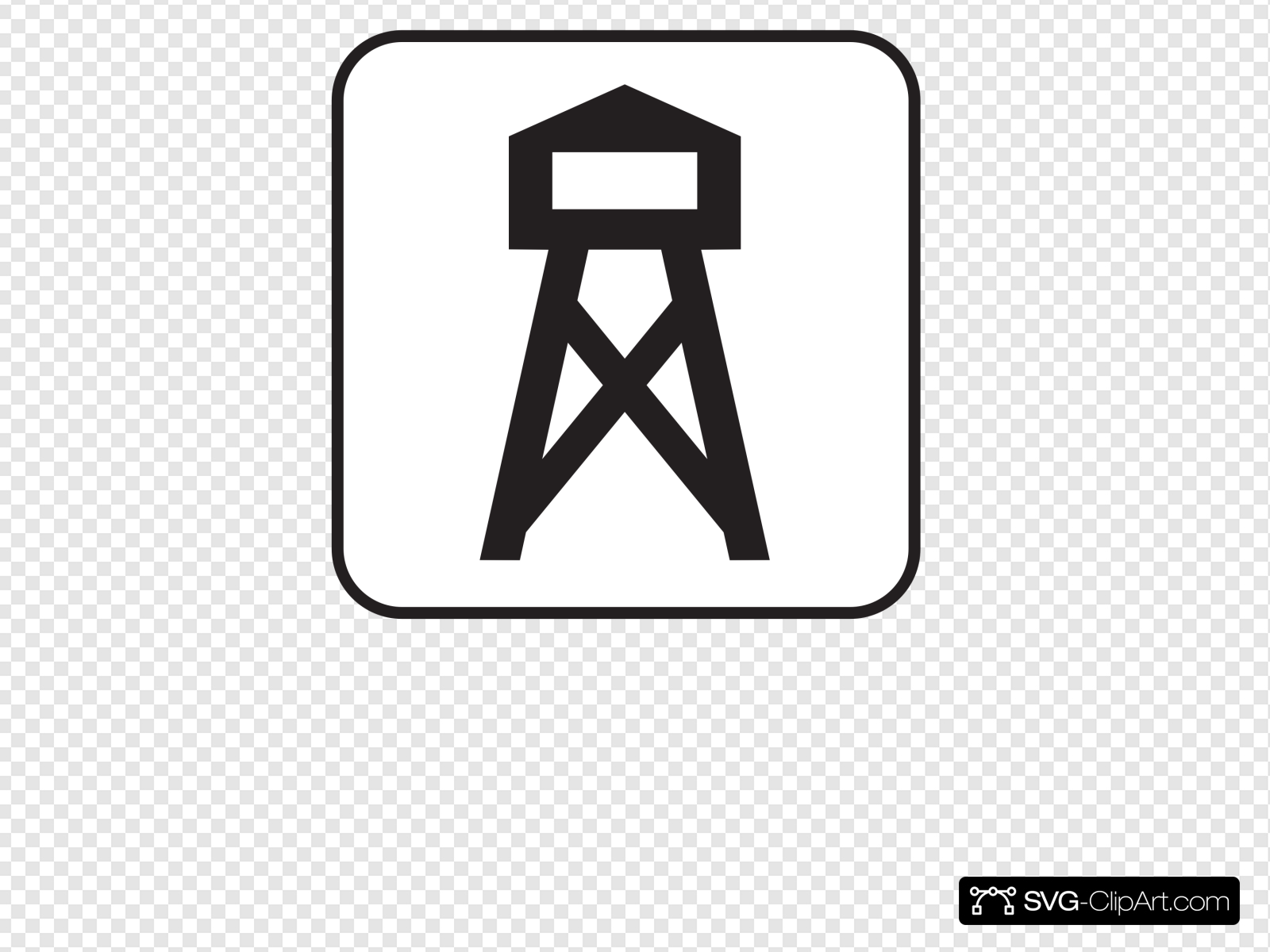 Lookout Look Out Tower White Clip art, Icon and SVG.