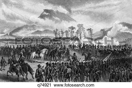 Stock Photography of 1800S 1860S November 1863 Battle Of Lookout.