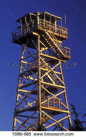 Stock Image of Low angle view of a lookout tower, Black Butte.