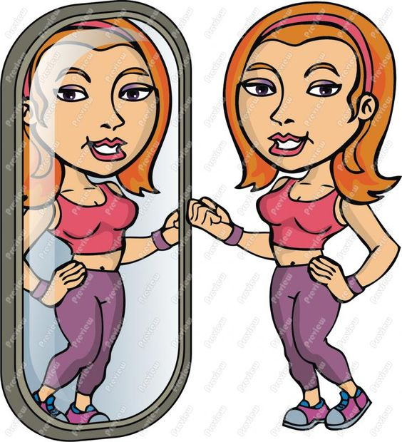 Fitness Woman Looking In Mirror Clip Art.
