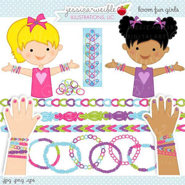 Rainbow Loom Fun Girls Clipart.
