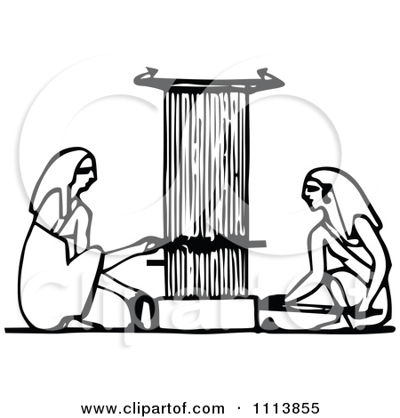 Clipart Vintage Black And White Ancient Egyptians Using A Loom.