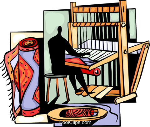 Person making a carpet on a loom Royalty Free Vector Clip Art.
