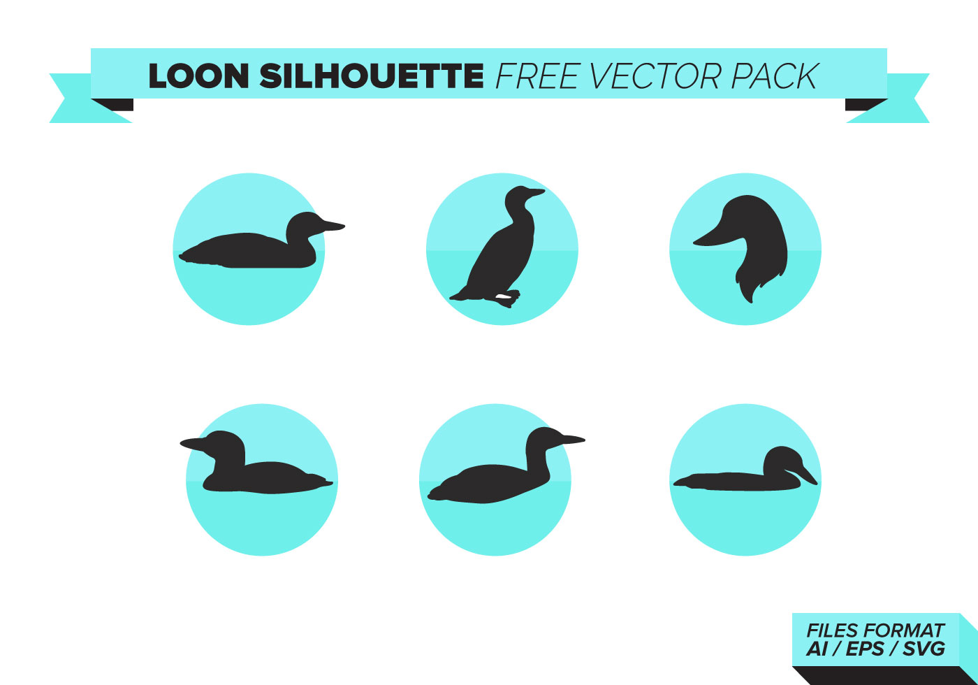 Loon Silhouette Free Vector Art.