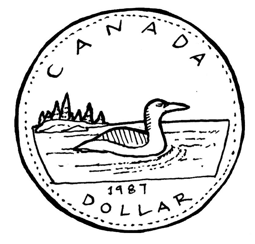 Canadian Loonie Clip Art.