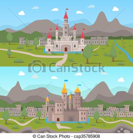 Vector Clipart of Medieval Ancient Castles Compositions.