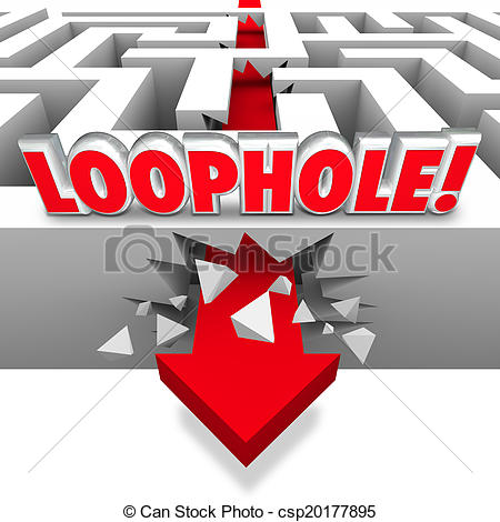 Stock Illustration of Loophole word in 3d letters on a maze with.