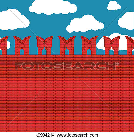 Clipart of Red brick wall with loopholes k9994214.