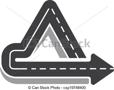 Vector Clipart of Looping triangular tarred highway doubling back.