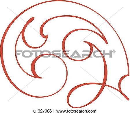 Clipart of Red looping outline of a feather u13279861.