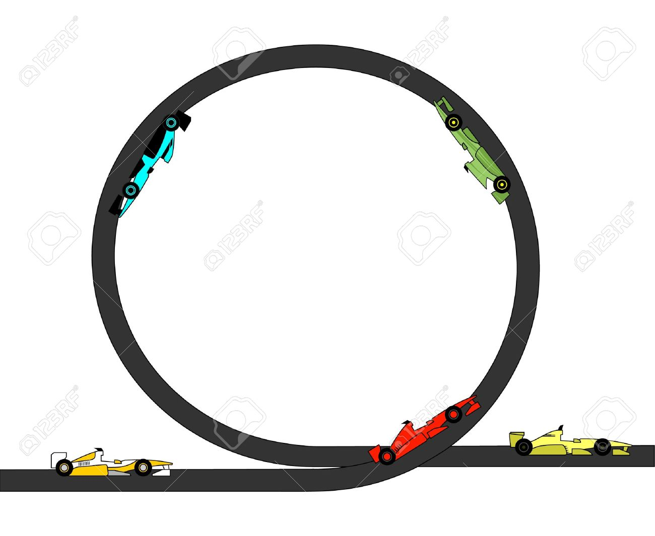 Drawings Of Race Cars Through A Looping Royalty Free Cliparts.