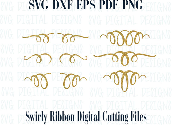 Swirly SVG Text Embellishment Cut Files Ribbon Loops in Svg.