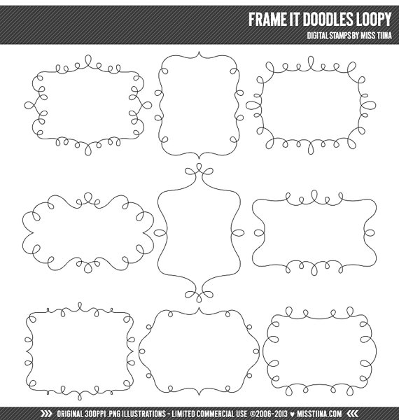 Frame It Doodles Loopy Digital Stamps Clipart Clip Art.