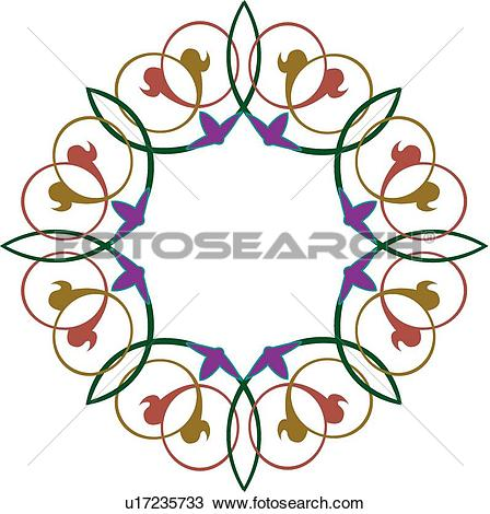 Clipart of Green, red and blue looping Arabesque Design u17235733.