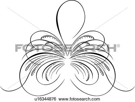 Clip Art of Calligraphic Design of looping lines and branches.