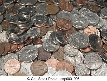 Stock Photo of loose change.