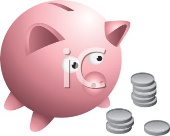 Royalty Free Clip Art Image: Cartoon Drawing of a Piggy Bank With.