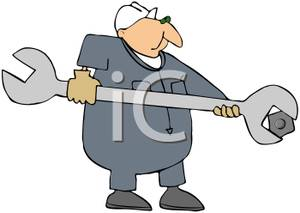 Colorful Cartoon of a Mechanic with a Wrench Loosening a Nut.