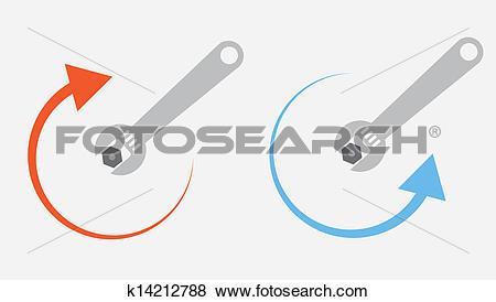 Clip Art of Wrench Tighten Loosen k14212788.