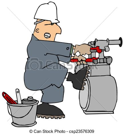 Stock Illustration of Man trying to loosen a gas meter.